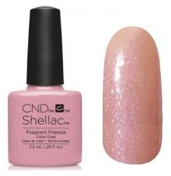 CND Shellac цвет Fragrant Freesia (Холодный розовый с мелкой галографической слю